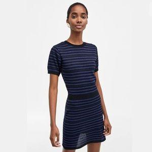 Zara new women  blue striped t shirt dress sz M